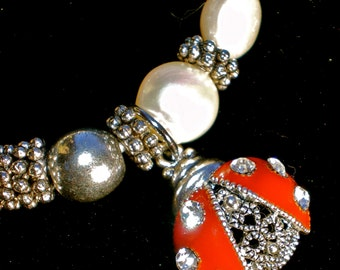CRYSTAL LADY BUG Stretch Bracelet