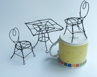 Miniature Handmade Wire Cafe Set - Square Table 2 Chairs