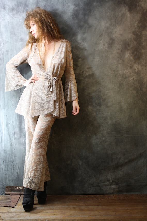 RESERVED for Megan  Please do not purchase Vintage 1970s Romantic Sheer Rose Lace Dress BellBottom Pant Suit