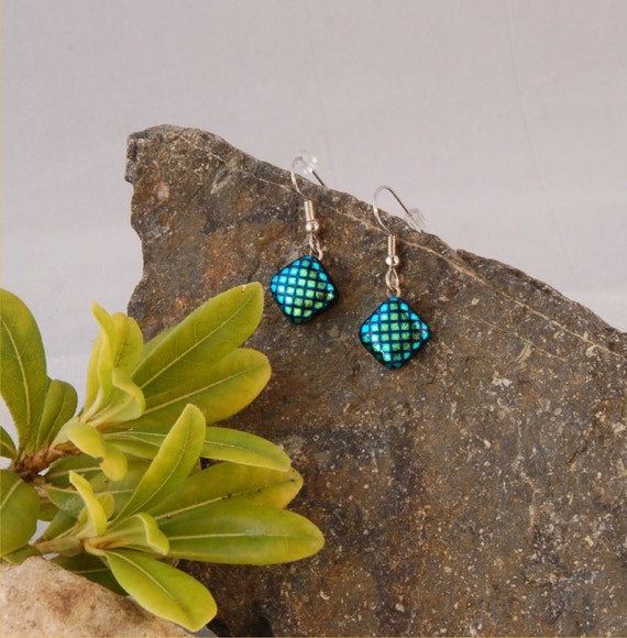 Square dots in green and blue, fused dichroic glass earrings