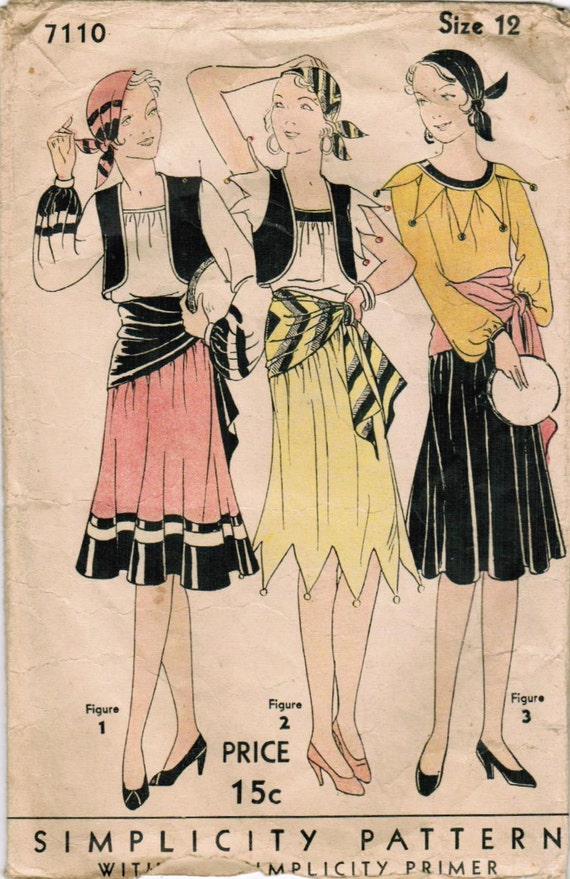 1920s Simplicity 7110 Vintage Sewing Pattern Misses Gypsy
