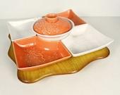 vintage USA Pottery Lazy Susan coral white - 7 piece set