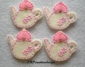 DOUBLE LAYERS Teapot Felt Applique (Vanilla with Light Pink Lid) - set of 4 pcs