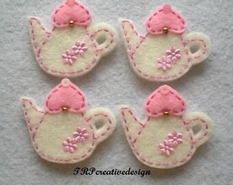 Teapot Felt Applique (Vanilla with Light Pink Lid), feltie, felties, handmade felty embellishment supply, hair clip, hair bow, wholesale