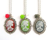 Skeleton Cameo Necklace with Rose- you choose