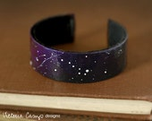 Hand Painted Personalized Constellation Cuff Bracelet, Custom, Glow in the Dark, Zodiac, Astronomy, Star Crossed Lovers - VictoriaCampDesigns