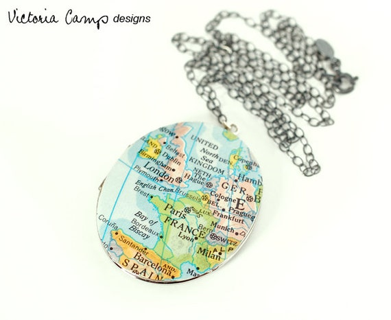 Europe Map Necklace, Silver Locket, Vintage Oval Locket, Sterling Chain, Map Jewelry, Paris, London, Milan