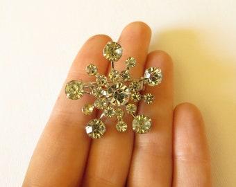 Vintage Snowflake/Starburst Rhinestone Brooch by Coro