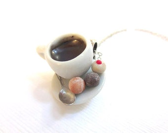 Coffee and Timbits Necklace, Miniature Food Jewelry, Polymer Clay Food Jewelry