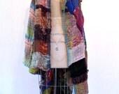 SAORI handwoven long vest by Aya