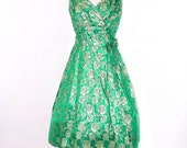 Vintage 1950's Dress - The Green with Envy Cocktail Holiday Gown - sz S