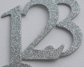 "Glitter Chipboard Numbers - 2"" inch - Table Numbers - COLOR CHOICE - Silver Glitter Shown:  Numbers 1 -12"