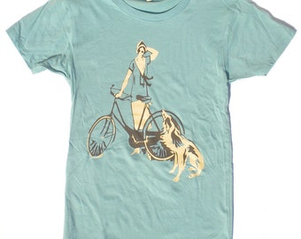Womans Bicycle T-shirt, Flapper and Dog, in Jade Green