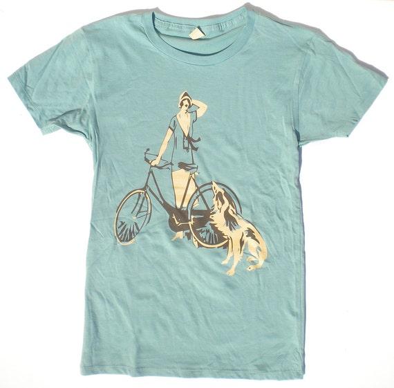 Womens Bike T-Shirt, Flapper Girl and Her Dog, in Jade Green