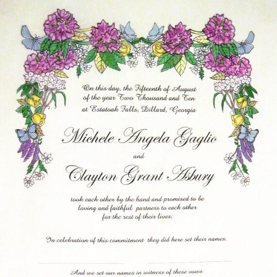 Butterflies - Quaker Marriage Certificate