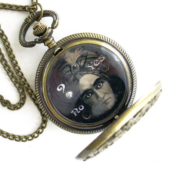 Fortune Teller - Hand Held Dexterity Game in Pocket Watch case - Jewelry Pendant Necklace