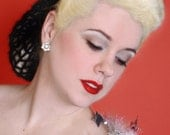 Hair Snood The Vintage Bunny in Black Mohair Crocheted from 1940's Design Retro Pinup
