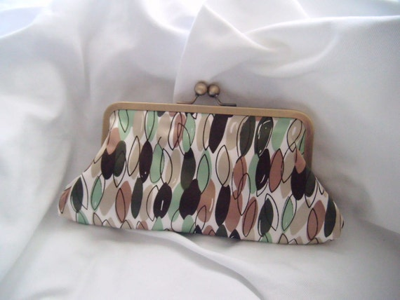 Wedding Party Clutches - Green and Brown - Satin clutch - Bridesmaid Clutch - nature inspired clutch - leaf clutch - clutch with leaves