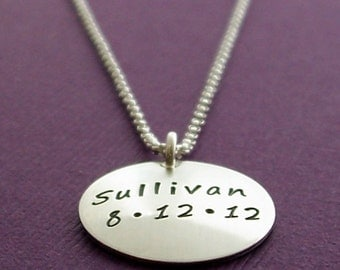 Personalized Necklace - Baby Name and Date Necklace in Sterling Silver - Mother's Jewelry - Hand Stamped by Eclectic Wendy Designs