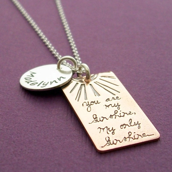 You Are My Sunshine Necklace - Personalized Mother's Charm Necklace in Sterling Silver and Copper - Child's Name Necklace by Eclectic Wendy