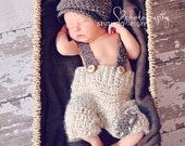 crochet newborn suspender pants and drivers cap - newborn boy photography prop - photography prop