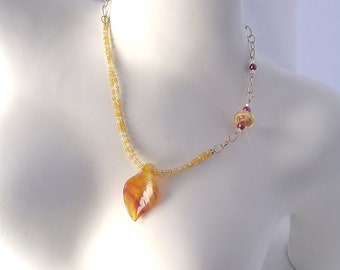 Farewell, Autumn Leaf Necklace, Lampwork necklace, asymmetrical necklace, yellow necklace, leaf, fall, By Xanna's Jewelry Box