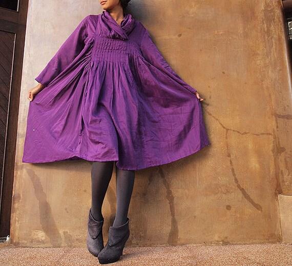 Iris...Autumn dress purple mix silk (one size fits most)