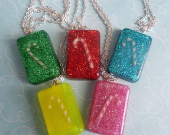Glitter Resin Candy Cane Necklace