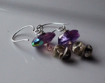 Amethyst Earrings  Mystic Purple Faceted Gemstones  Sterling Silver Ruffle Disc Dangles  Iridescent AB  Gift Box