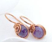 FEB. SALE Amethyst Copper Wire Wrapped Dangle Earrings February Birthstone  (E406-8)  (WERE 15.00)