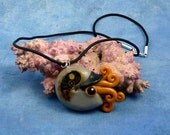 Steampunk Nautilus Necklace, Polymer Clay Jewelry
