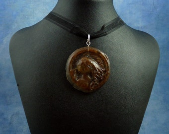 Rust Cthulhu Cameo Necklace, Handmade Resin Jewelry