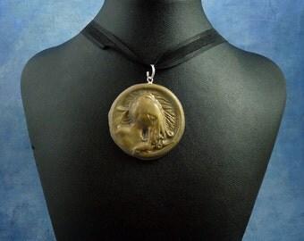 Gray Cthulhu Cameo Necklace, Handmade Polymer Clay Jewelry
