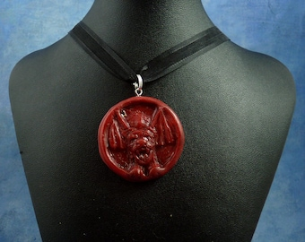 "Burgundy ""the Hound"" Amulet Necklace, Polymer Clay Jewelry"