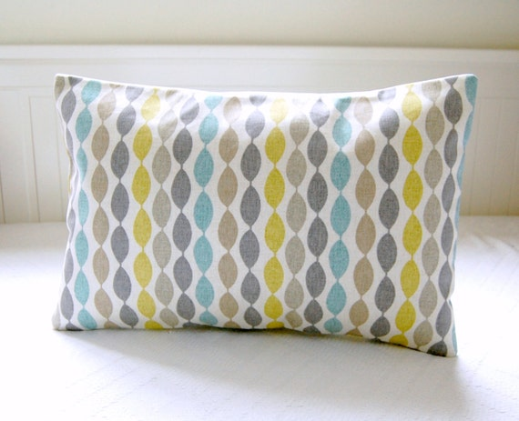 blue retro decorative pillow cover grey yellow by littlejoobieboo. Black Bedroom Furniture Sets. Home Design Ideas