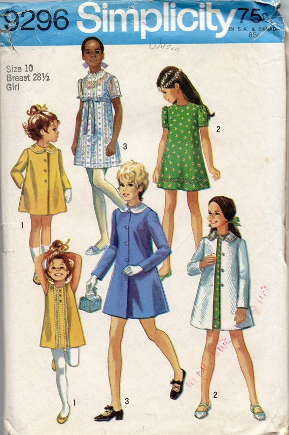Simplicity 9296 1970s Girls Dress Coat Pattern Detachable