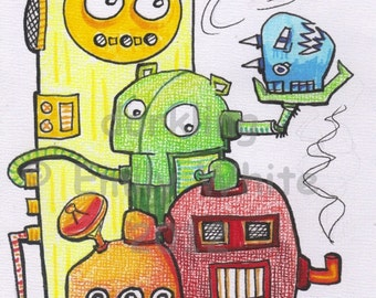 Rainbow Bots cartoon robots lowbrow fun illustration open edition Art Print 8x10 signed