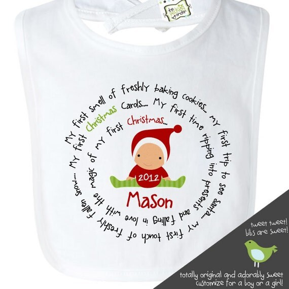 babys first christmas bib adorable for all the Chistmas festivities baby bib