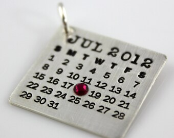 Calendar Charm - Mark Your Calendar Charm with crystal - hand stamped and personalized sterling silver charm