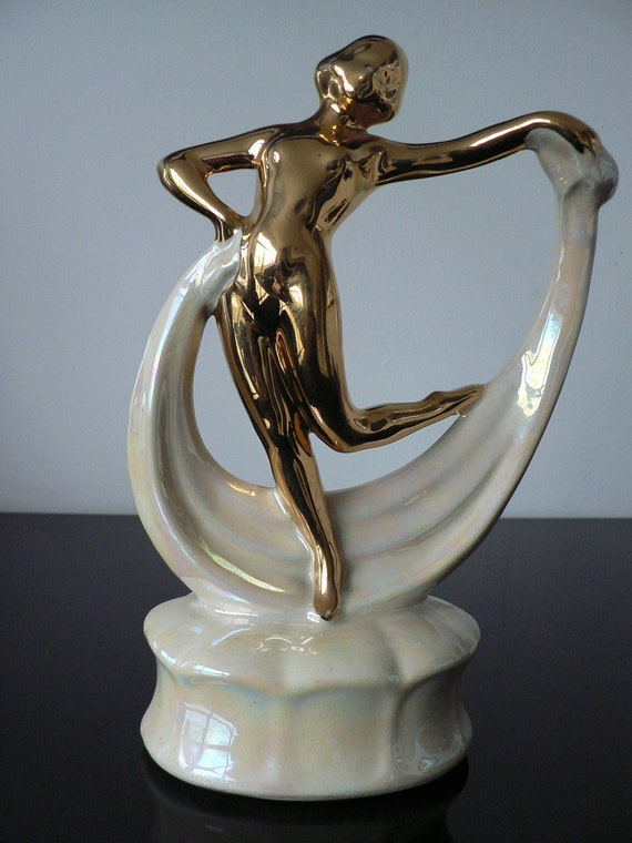 art deco ceramic white and gold nude lady / 1930s scarf dancer figurine / art deco nude dancer