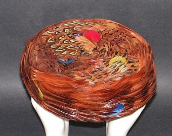 Vintage Pill Box Hat Pheasant Feathers Pillbox Mid Century Fashion
