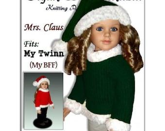 Knitting pattern, fits My Twinn and 23 inch dolls. (my BFF) Santa Hat and Sweater, PDF, 605