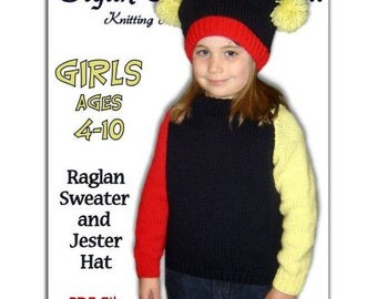Girls Knitting Pattern, Raglan Sleeves Pullover Sweater, children's clothes. PDF Instant Download