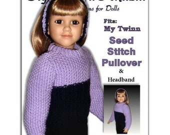 Knitting Pattern fits My Twinn (My BFF), 23 inch dolls. Pullover and Headband PDF, 601
