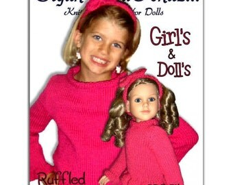 Knitting Patterns, matching girls 4-10, and doll Sweaters, My Twinn, 23 inch, My Bff PDF Instant Download