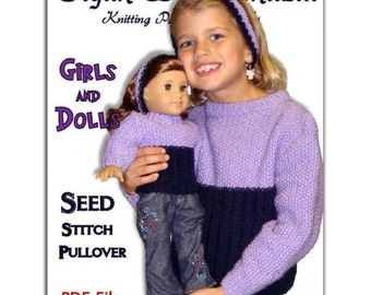 Knitting Patterns, Matching Girl and Doll sweaters. American Girl Doll. AG, PDF
