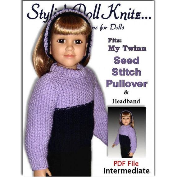 Knitting Pattern fits My Twinn (My BFF), 23 inch dolls. Pullover and Headband PDF, 601
