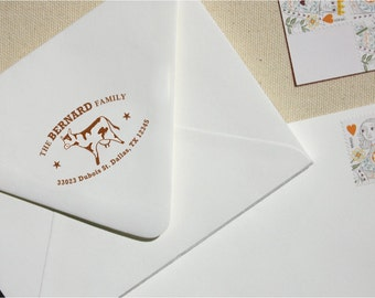 Address Stamp - Custom Stamp - Return Address Stamp - Cow Stamp - Farm Address Stamp - Personalized Address Stamp