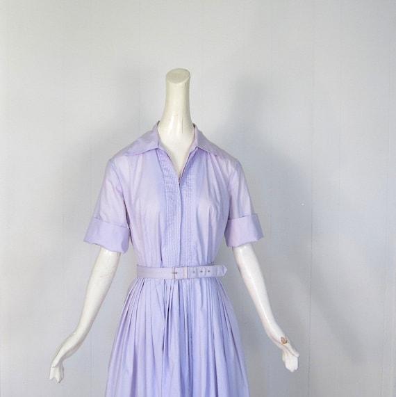 Vintage 50s Dress / Shirtwaist Dress / 1950s Dress / Lilac Dress / M L