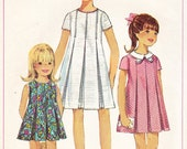 Vintage 1967 Mod Girl's Pleated Dress Pattern - Simplicity 7035